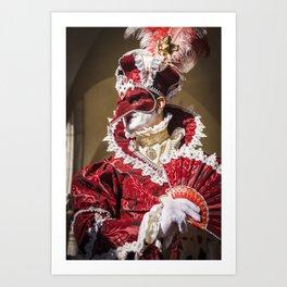 Red carnival mask in Venice Art Print