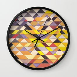Triangle Pattern No.8 Black and Yellow Wall Clock