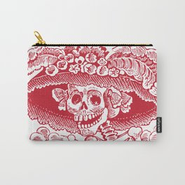 Calavera Catrina | Red and White Carry-All Pouch