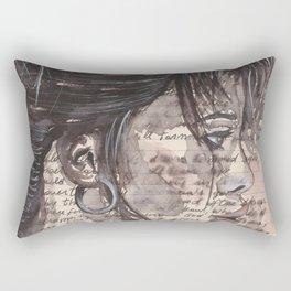 Handwritten letter with portrait Rectangular Pillow