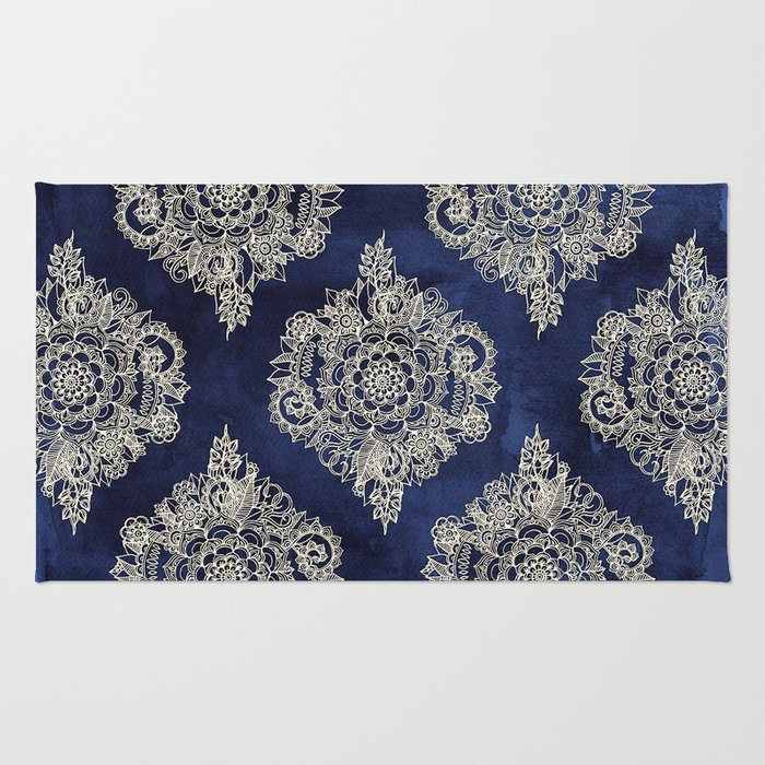 Cream Floral Moroccan Pattern On Deep Indigo Ink Rug By