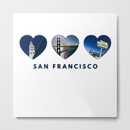 San Francisco Heart (blue) Metal Print