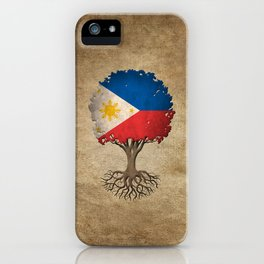 Vintage Tree of Life with Flag of Philippines iPhone Case