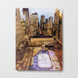 Window out to New York City at Christmas Metal Print