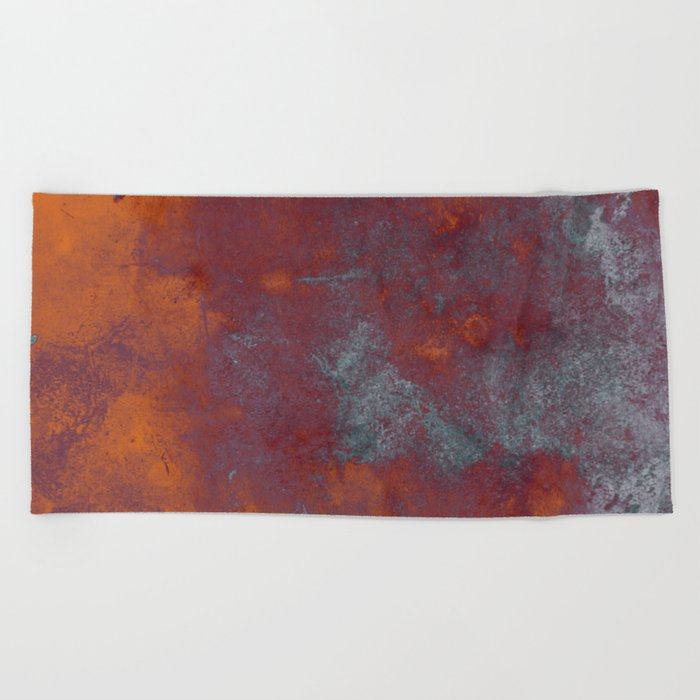 Cracked Amber - Textured abstract painting in amber and blue Beach Towel