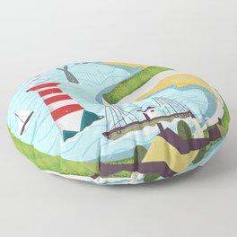 Newfoundland canada vintage travel poster Floor Pillow