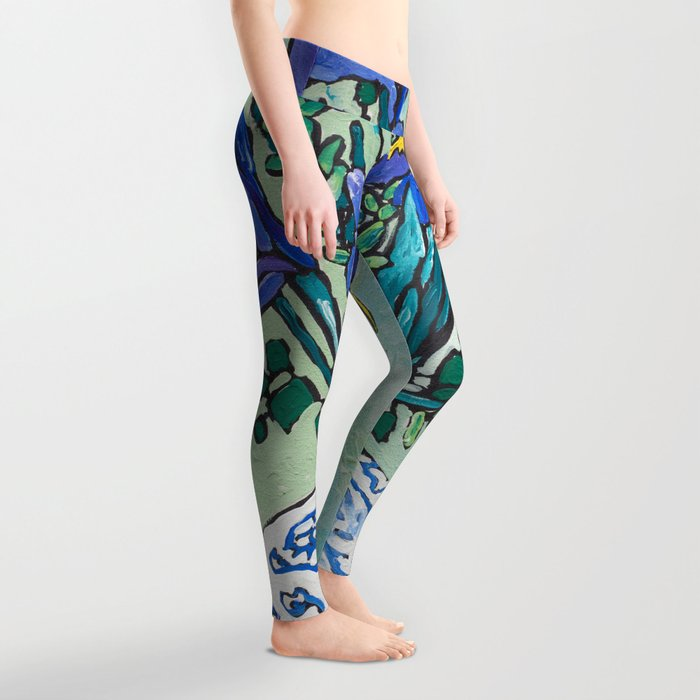 Iris Bouquet in Blue and White Asian Tiger Jar on Green and Coral Leggings