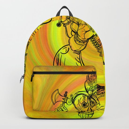 Lord Ganesha on Yellow Spiral Backpack