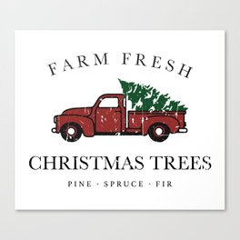 Christmas Tree Farm Vintage Truck Canvas Print
