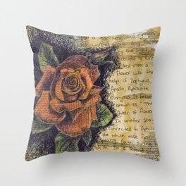Rose collage Throw Pillow