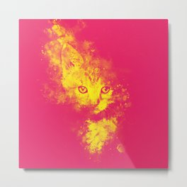 abstract young cat wspy Metal Print