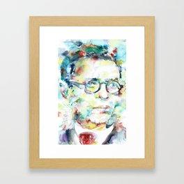 JEAN-PAUL SARTRE - watercolor portrait Framed Art Print