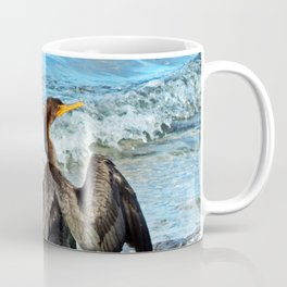 Cormorant Dries off in front of the Sea Coffee Mug