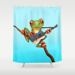 Tree Frog Playing Acoustic Guitar with Flag of Estonia Shower Curtain