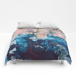 Breathe Again: a vibrant mixed-media piece in blues pinks and gold by Alyssa Hamilton Art Comforters