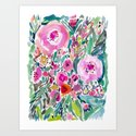 Pink Pow Wow Abstract Painterly Floral by barbraignatiev