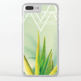 Aloe Vera Succulent with Chevron and Seafoam Background Clear iPhone Case