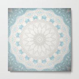 Bohemian Sea Foam Blue Creme Mandala Metal Print