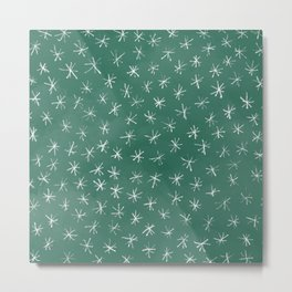 Christmas Snowflakes in Green and White Metal Print