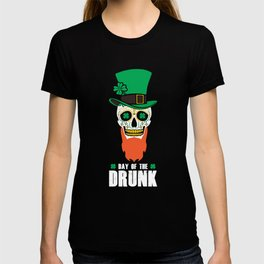 St Patricks Day Sugar Skull Top Hat Day Of The Drunk T-shirt