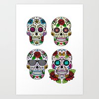 sugar skulls Art Prints featuring Sugar skulls by very giorgious