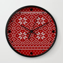 Christmas Snowflake Wool Pattern Wall Clock