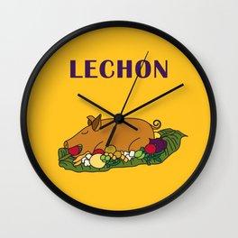 Filipino Kitchen Loteria - Lechon Wall Clock