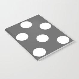 Large Polka Dots - White on Dark Gray Notebook