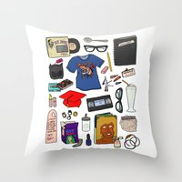 ghost world Throw Pillows featuring Ghost World by Shanti Draws