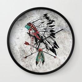 chieftain feather headdress Wall Clock