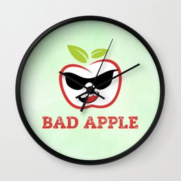Bad Apple in Black Sunglasses with Attitude Wall Clock