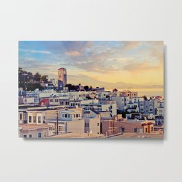 San Francisco North Beach Sunset Fine Art Print  • Travel Photography • Wall Art Metal Print