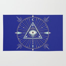 Evil Eye Mandala – Navy Rug