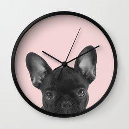 Blush pink Frenchie pop Wall Clock