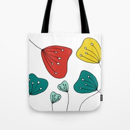 Quirky Hand Drawn Red, Yellow and Teal Flowers by Emma Freeman Designs Tote Bag