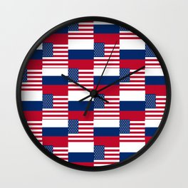 Mix of flag: Usa and russia Wall Clock