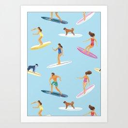surfers watercolor pattern Art Print