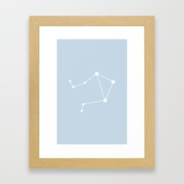 Libra Zodiac Constellation - Pastel Blue Framed Art Print