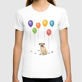 Pug with balloons T-shirt