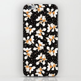 White And Orange Flowers On Black iPhone Skin