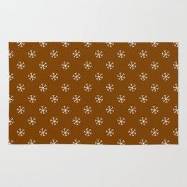 White on Chocolate Brown Snowflakes Rug