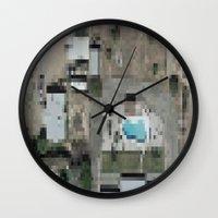 las vegas Wall Clocks featuring Las Vegas by Mark John Grant