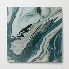 Tranquil Arctic Painting Marble Metal Print