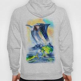 Jumpimg blue Marlin Chasing Bull Dolphins Hoody