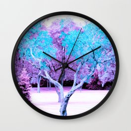 Turquoise Lavender Fantasy Landscape Wall Clock