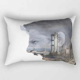Angry shouting man face on cityscape Rectangular Pillow