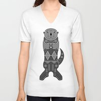 otters V-neck T-shirts featuring Sea Otter by Hinterlund