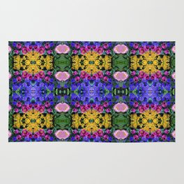 Floral Spectacular: Blue, Plum, Gold - square repeating pattern, Olbrich Botanical Gardens, Madison Rug