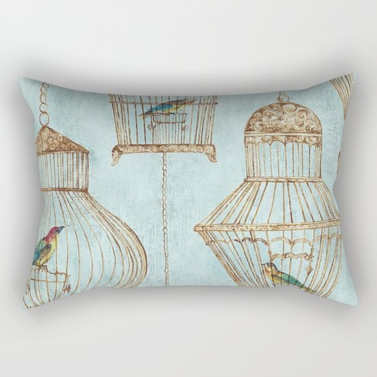 Vintage dream- Exotic colorful birds in cages on aqua background #Society6 Rectangular Pillow