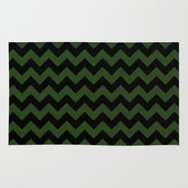 Large Dark Forest Green and Black Chevron Stripe Pattern Rug